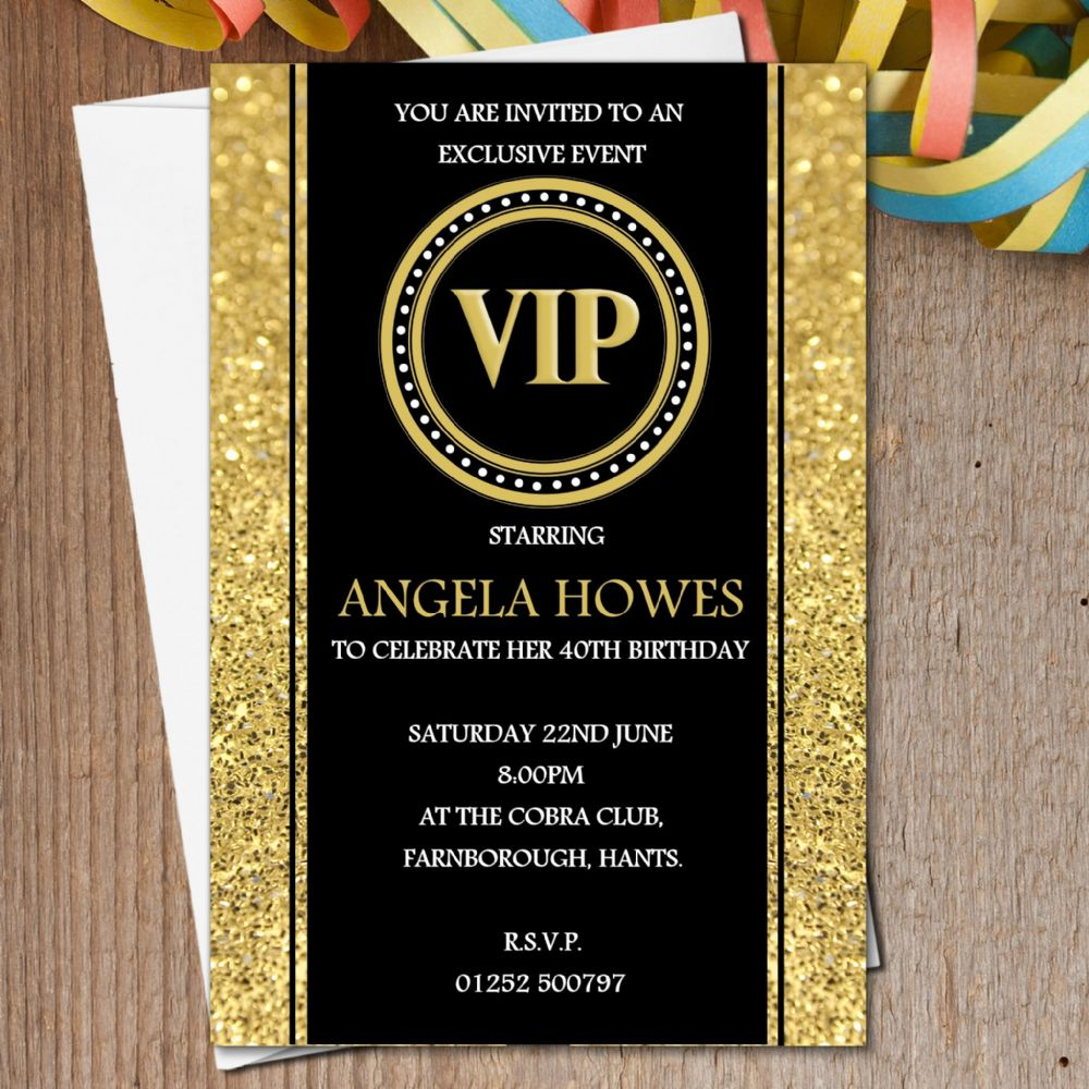10 Personalised Black Gold VIP Birthday Party Invitations N190